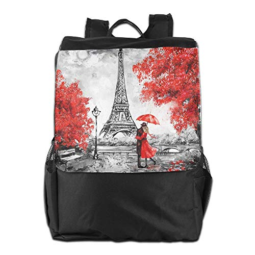 Outdoor Backpacks Oil Painting Paris European City Landscape France Wallpaper Eiffel Tower Black White and Red1 Knapsack Polyester Multifunction -