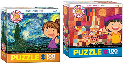 EuroGraphics Kids Fine Art 100 Piece Puzzle Set - 2 Art Puzzles - Starry Night by Vincent Van Gogh and Castle and Sun by Paul Klee