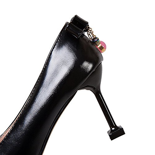 Allhqfashion Dames Gesloten Teen Pu Hoge Hakken Pull-on Stevige Pumps-schoenen Zwart