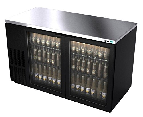 Back Bar Cooler, 591/2″, twosection, (2) glass doors, (852) 12 oz can capacity, (4) adjustable coated wire shelves, analog thermostat, Asber ABBC-58G