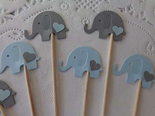 Light Blue and Grey Elephant Cupcake Toppers – Elephant and Hearts Food Picks – Blue and Gray Elephants – Baby Boy Shower Appetizer Picks (Set of 24)