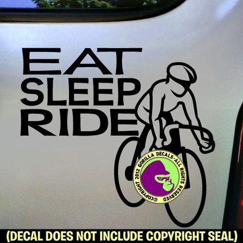 EAT SLEEP RIDE Cycling Biking Road Vinyl Decal Sticker E