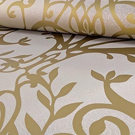 Exclusive Holden Statement Floral Damask Pattern Metallic Textured Wallpaper Gold 50010