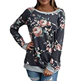 STORTO Womens Casual Floral Splicing Tops Long Sleeve O-Neck Sweatshirt Blouse