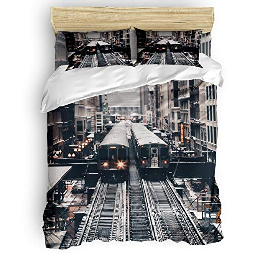 (BabeMaps 4 Piece Luxury Duvet Cover Bedding Sets King Subway Train Breathable Bedroom Quilt Cover with Zipper Closure and 2 Pillow)