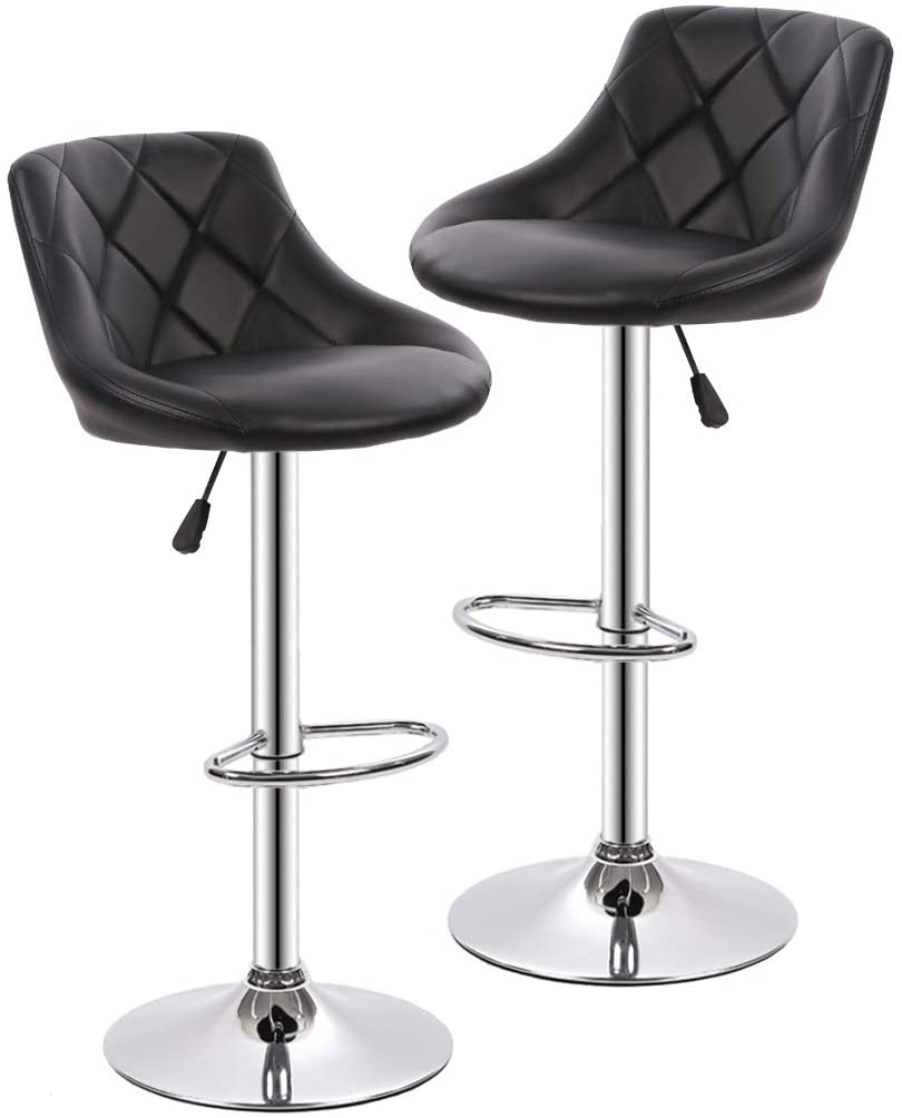 Counter Height Bar Stools Set of 2 Barstools Swivel Stool Height Adjustable Bar Chairs with Back PU Leather Swivel Bar Stool Kitchen Counter Stools Dining Chairs