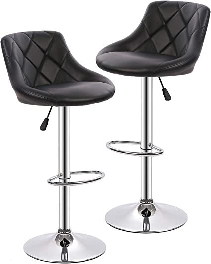 Bar Stools Barstools Swivel Stool Height Adjustable Bar Chairs With Back Pu Leather Swivel Bar Stool Set Of 2 Kitchen Counter Stools Dining Chairs Furniture Decor