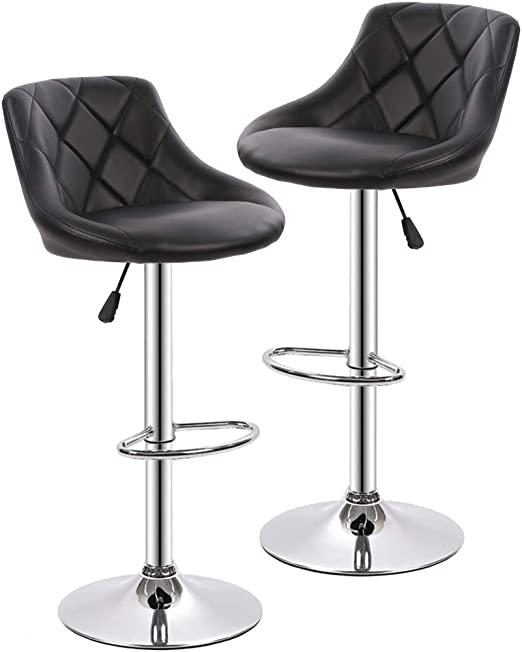 Counter Height Bar Stools Set of 2 Barstools Swivel Stool Height Adjustable  Bar Chairs with Back PU Leather Swivel Bar Stool Kitchen Counter Stools ...