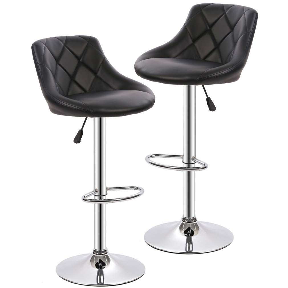 Bar Stools Barstools Swivel Stool Height Adjustable Bar Chairs with Back PU Leather Swivel Bar Stool Set of 2 Kitchen Counter Stools Dining Chairs by BestOffice