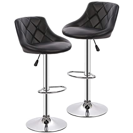 watch 74a22 ad932 Bar Stools Barstools Swivel Stool Height Adjustable Bar Chairs with Back PU  Leather Swivel Bar Stool Set of 2 Kitchen Counter Stools Dining Chairs