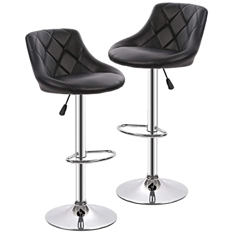 Sensational Counter Height Bar Stools Set Of 2 Barstools Swivel Stool Height Adjustable Bar Chairs With Back Pu Leather Swivel Bar Stool Kitchen Counter Stools Inzonedesignstudio Interior Chair Design Inzonedesignstudiocom