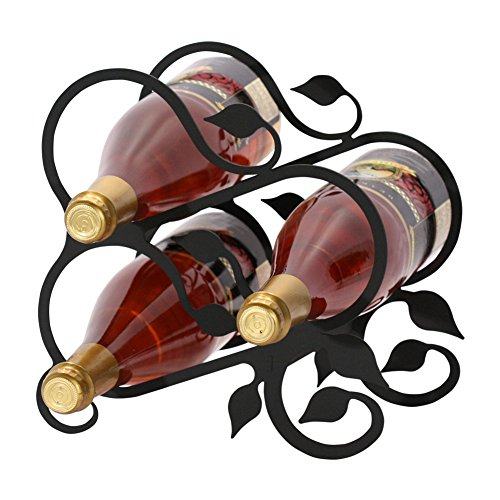 Metal Wine Bottle Grapes (Iron Grapevine Wine Rack (3 Bottle) - Heavy Duty Metal Wine Holder, Wine Bottle Holder)