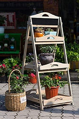 Home&Decoration YL15A050 - Estante plegable de madera para flores, soporte de tres niveles para macetas, jardín, balcón, terraza, interiores, exteriores, floristerías. 50x43x90 cm café antiguo