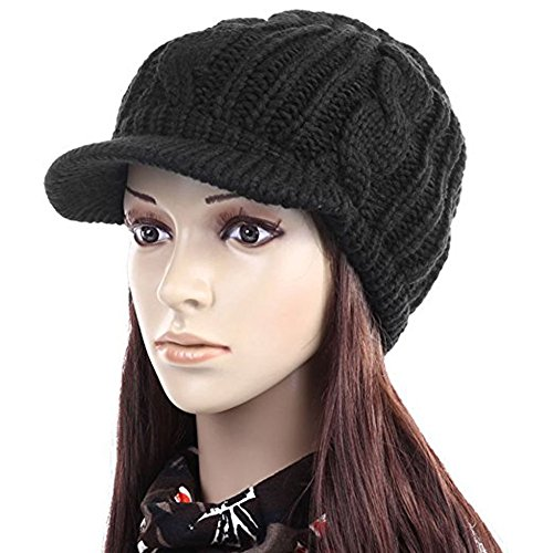 ANDI ROSE™ Slouch Beanies Button Hats Knitted Crochet Baggy Skullies Beret Cap Hat for Women Winter Ski Party (1126 Black) Brim Crochet