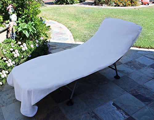 Terry Lounge Cover - Chakir Turkish Linens HC-CC-WHT Luxury Hotel & Spa Towel Turkish Cotton Chair Lounge Cover (White, Hot