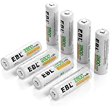 EBL 8 Pack AA Batteries 2800mAh High Capacity (ProCyco Technology UL Certified) AA Ni-MH Rechargeable Batteries, Battery Case Included