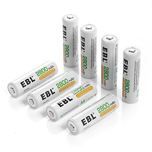 - EBL 8 Pack AA Batteries 2800mAh High Capacity (ProCyco Technology) AA Ni-MH Rechargeable Batteries, Battery Case Included