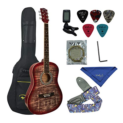 Bailando 38 Inch Acoustic Guitar Starter Kit, Dreadnought Mahogany Body, 6 Steel Strings, Redburst