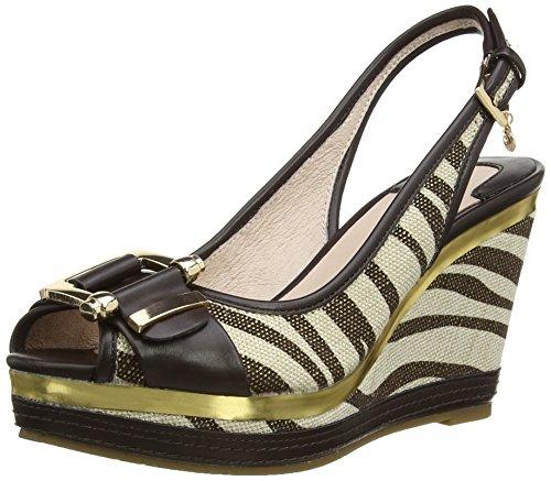 Moda In Pelle Polina - sandalias con cuña de sintético mujer marrón - Brown (Zebra)