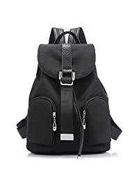 Artone Water Resistant Campus Backpack Casual Drawstring Daypack With Backside Anti-Theft Zipper Purse Pocket Black