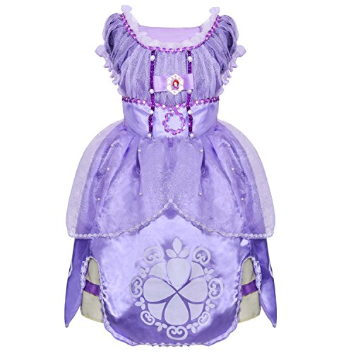 [LOEL Girl Dress Kids Ruffles Lace Party Custome Dress for 3-4 years] (Sofia The First Costume For Adults)