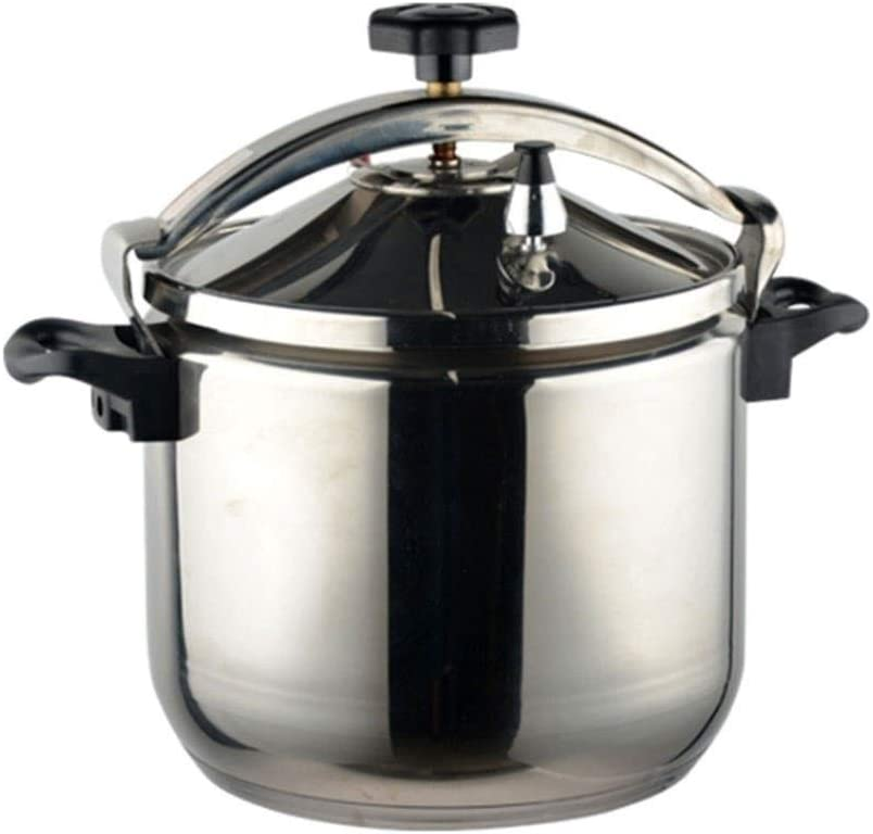 304 stainless steel pressure cooker explosion-proof household/commercial large-capacity fast cooking pot, multifunctional gas/induction cooker general, 3L~40L (Color : Silver, Size : 9L)