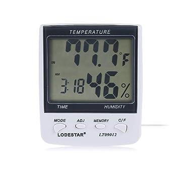 XU-XIAZHI,Termómetro higrómetro Reloj Digital con sonda de Temperatura(Color:Blanco): Amazon.es: Electrónica