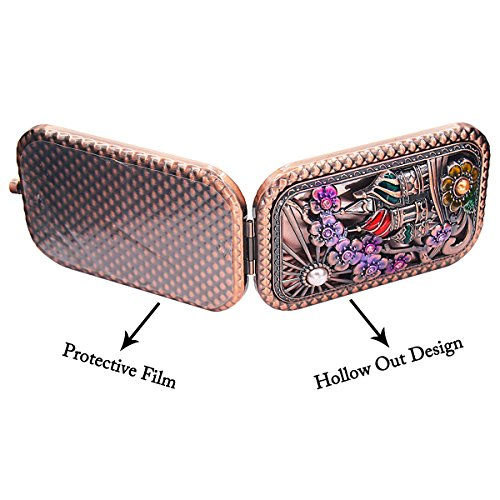 Ivenf Rose Golden Castle & Flower Square Vintage Compact Purse Mirror, Christmas Gift by Ivenf (Image #2)