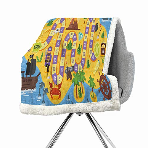 - Khakihome Kids Activity Blanket Small Quilt 60 by 32 Inch Fashion Design MulticolorFinding Treasure of The Pirate Themed Board Game Style Colorful Island Map