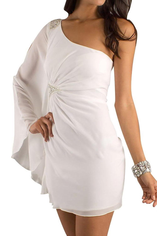 Gorgeous Bride One Shoulder Short Asymmetrical Chiffon Evening Dresses Elegant