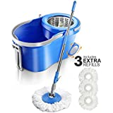 Masthome 360 Spin Mop with Wringer,3 Microfiber Mop Heads Household Floor Mop Stainless Steel Deluxe Rolling Spin Mop ,12L