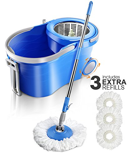 (Masthome 360 Spin Mop with Wringer,3 Microfiber Mop Heads Household Floor Mop Stainless Steel Deluxe Rolling Spin Mop ,12L)