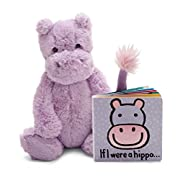 Jellycat Book and Stuffed Animal Gift Set, If I were a Hippo Board Book and Bashful Hippo