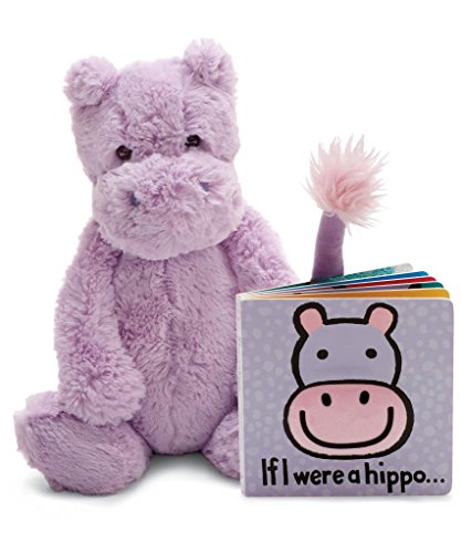 (Jellycat Book and Stuffed Animal Gift Set, If I were a Hippo Board Book and Bashful Hippo)