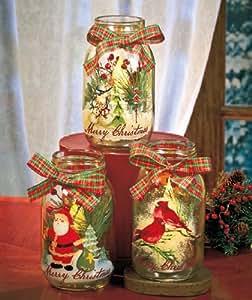 Set of 3 Christmas Holiday LED Light Flameless Battery Operated Votive Tealight Candle Vase Holder Mason Glass Jars Red Green Plaid Bow Snowman Santa Claus Cardinal Bird