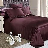 ELLESILK Pure Silk Flat Sheet, 22 Momme Silk Sheet, 100% Mulberry Silk Bed Sheet, Natural Care to Skin, Queen Size, Grape