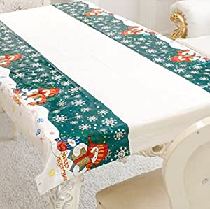 Sunshay Disposable Christmas Tablecloth Festive Decoration Table Cloth One-Time Table Cover