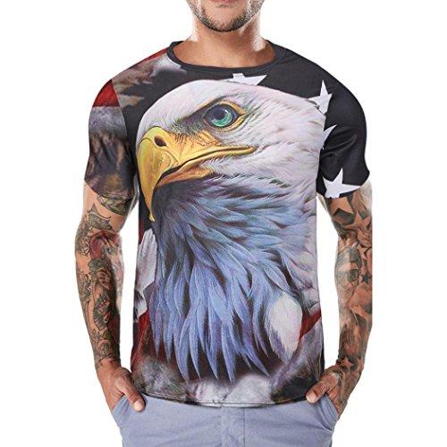 Challyhope Hot Sale! Summer Men Tees Tops Funny Boys Retro Eagle Flag Print Short Sleeve T-Shirt (XXL, - Eagle T-shirt Asian