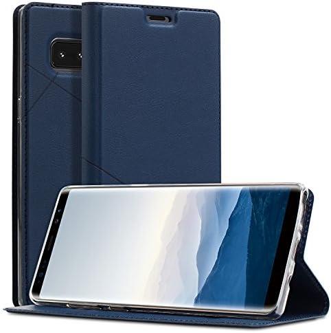 Samsung Galaxy Note 8 ケース 手帳型 薄型 軽量 全面保護 ギャラクシー ノート8 ケース 手帳型 ワイヤレス充電対応 カード収納 PUレザー 耐衝撃 横置きスタンド シンプル マグネット式 スイカ磁気障害無し 保護ケース (Samsung Galaxy Note 8, ブルー)