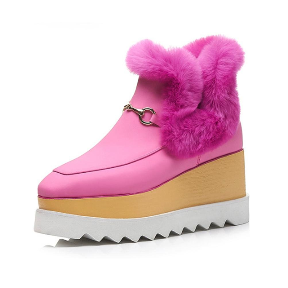 QPYC Frauen Echtes Leder Weibliche Stiefel Square Head Schuh Mund Lose Kuchen Am Ende Stiefel Große Größe