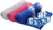 SHISHUO Cooling Towel 3 Pack, Cool Towel for Instant Cooling Relief, Cool Bowling Fitness Yoga Towels, Stay Co