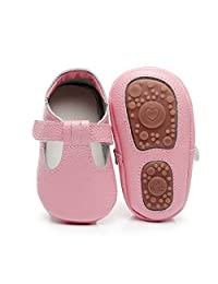 HONGTEYA Baby Boys Girls Fox Mary Jane Sandals Moccasins Shoes Rubber Sole Crib Toddler Leather Walking Prewalker (12-18 Months/US 6.5/5.31''/See Size Chart, Pink)