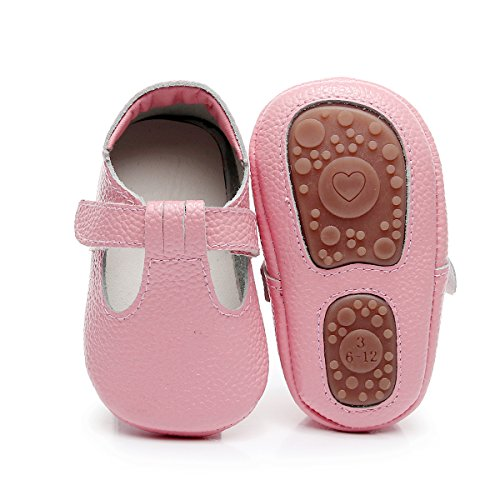 HONGTEYA Baby Boys Girls Fox Mary Jane Sandals Moccasins Shoes Rubber Sole Crib Toddler Leather Walking Prewalker (0-6 Months/US 4/4.53'' / See Size Chart, Pink) -