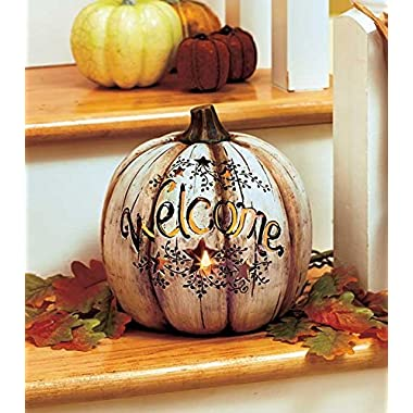 Lighted Country Welcome Pumpkin