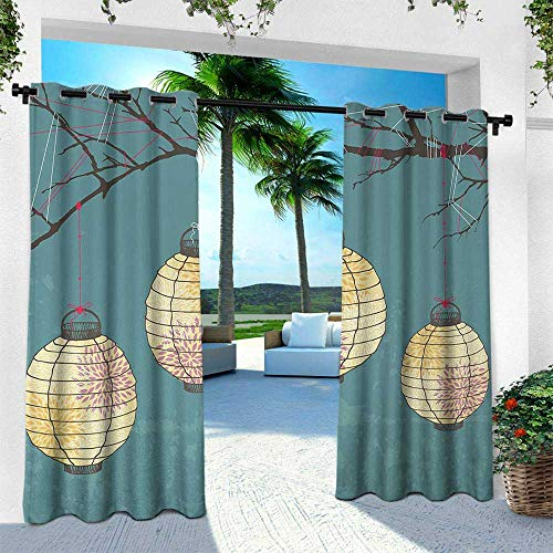 (Lantern, for Patio Light Block Heat Out Water Proof Drape,Three Paper Lanterns Hanging on Branches Lighting Fixture Source Lamp Boho, W96 x L108 Inch, Teal Light Yellow)