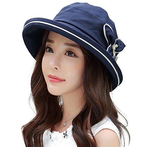 100/% Linen Summer Sunhat Bucket Foldable Wide Brim Hats w//Chin Strap Navy Comhats Womens UPF50