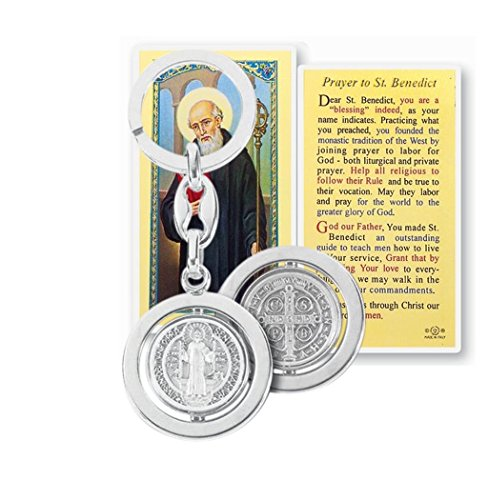 Saint Benedict Rotating Spinning Silver Plated Key Chain Key Ring with Prayer Card Blessed by His Holiness