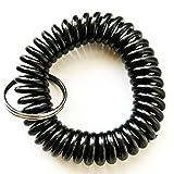 420Pieces Black Color Stretchable Plastic Bracelet Wrist Coil Wrist band Key Ring Chain Holder Tag