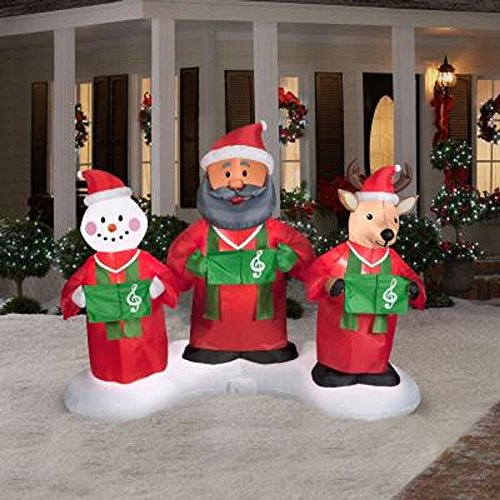 CHRISTMAS INFLATABLE 6' ANIMATED GOSPEL CHOIR W/ AFRICAN AMERICAN SANTA REINDEER & SNOWMAN AIRBLOWN DECORATION