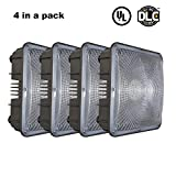 Ccclighting LED Canopy Light Outdoor 80W 5000K Daylight Nature White 8000Lumens Security Waterproof IP65 UL&DLC Listed Close To Ceiling Light Fixtures for Gas station Warehouse Store Set of 4